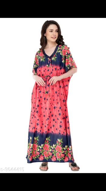 400 Only Cash on delivery Trendy Women's Satin Printed Nightdress Fabric: Satin Sleeve Length: Short Sleeves Color: Multicolor Length: Maxi Pattern: Printed Multipack: 1 Sizes: S (Bust Size: 36 in, Length Size: 50 in)  XL (Bust Size: 42 in, Length Size: 50 in)  L (Bust Size: 40 in, Length Size: 50 in)  M (Bust Size: 38 in, Length Size: 50 in)