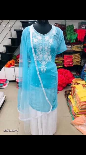 Kurti plazzo with dupatta-*    *Premium quality* *Preference Best Quality*  Fabric Details: ---* TOP :- Georgette with embroidered neck with machine moti work semi  stich [free size upto 48 ]*_  PLAZOO :-  lycra silk Full stich [xl size]*_  Duptta :- Net duptta with 2 colour dyeing with four side border lace*  Top Height = 42* Top :-heavy Georgette with embroidered neck with piping with pearl*  Plazoo Height = 42* Plazoo :- heavy lycra silk with pearl* Type :- Full stich*  Size :- Free size*   Duptta :- Net duptta with 2 colour dyeing with four side border lace*  Colour Option :- Five*  Occassion* : *Party Wear,Regular Wear   Rs.799 Free Shipping, online payment only for this product #fancykurtis #stylishkurtis #kurtisonly #kurtisonline #designerkurtis #longkurtis #bollywoodsarees2020 #kurukshetra #kurtis #kurtisonline #kurtiscollection