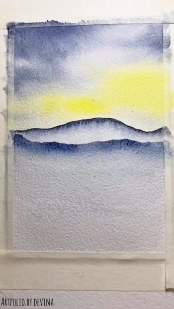 Misty mountains with watercolours
