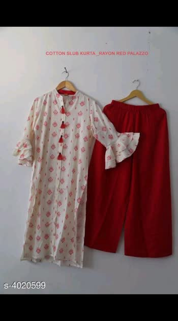 650 Only Women Rayon Printed Kurta Set with Palazzos Kurta Fabric: Rayon Bottomwear Fabric: Rayon Sleeve Length: Three-Quarter Sleeves Set Type: Kurta With Bottomwear Bottom Type: Palazzos Pattern: Printed Multipack: Single Sizes: Kurti - M - 38 in, L - 40 in, XL - 42 in, XXL - 44 in. Palazzo - M - 30 in, L - 32 in, XL - 34 in, XXL - 36 in *Please note that this product will only be delivered in Orange and Green Zone Pincodes (as identified by the government of India)*