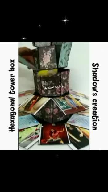 Hexagonal tower box https://instagram.com/handmade__creation?igshid=1j9q1id372mbs #handmade #birthdayGifts #keepgifting #anniversaryGift #specialgifts #shadow'screation #explosionbox #customized