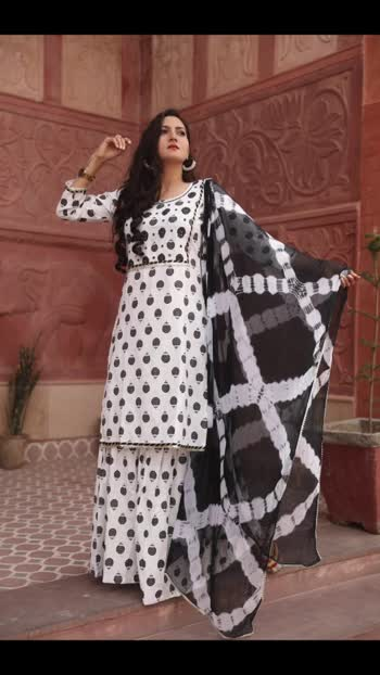 NEW ARRIVAL  BLACK AND WHITE CASUAL OUTING  amazing handblock print  sharara and kurta with  shiffon dupatta and handwork on choli.. FABRIC COTTON FLEX  SIZE S M L XL XXL