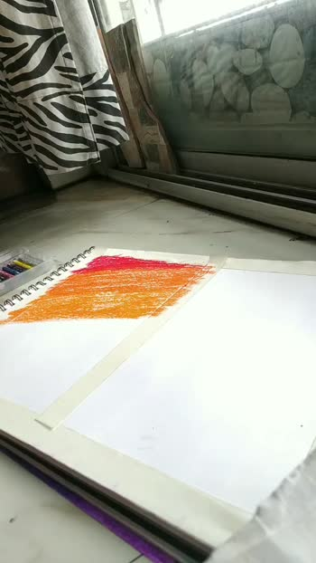 oil pastel day and night divided painting