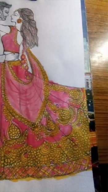 #bridesofindia #bride-lehenga #bridedrawingby Heena #marriagemoments #beautifulcouple #weddingcollection #lovebirds #creativespacechannel #creativespace #creativeartist  follow  . . . me guys for more drawings and paintings....