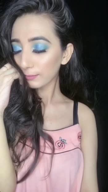 Aquamarine Eyes💙  #aqua  #aquamarine  #nudelips  #glittereyes #glitter   #makeup #muadelhi #mua #roposo #roposostar #risingstar #risingstaronroposo  #basemakeup  #smudgeliner #creativespace #foryou  #mkovr