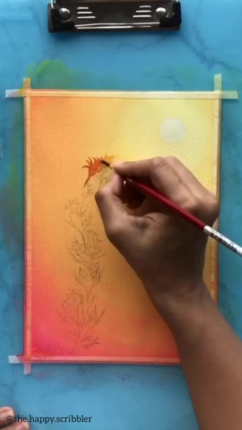Learn how to paint a simple sunlit sky  Follow me on instagram @the.happy.scribbler for more art video  #creative #creativespace #creative-channel #artvideo #artistsoninstagram #artvideos #creativespacechannel #indianartist #artistsofinstagram #skypainters #artwork