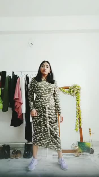 How to style your camouflage bodycon dress { PART 1 } #fashionblogger #fashionquotient #fashionvideos #howtostyle  #roposo  #followmeformoreupdates