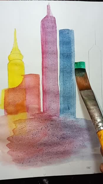Colourful buildings 🌆 Medium:Water colours