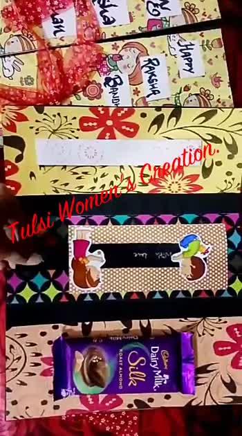 Rakhi gifts for your Sister.. #Rakhi #tulsi_women's_ creation #handmadecard #sister #card #manisha_varandani # chocolate