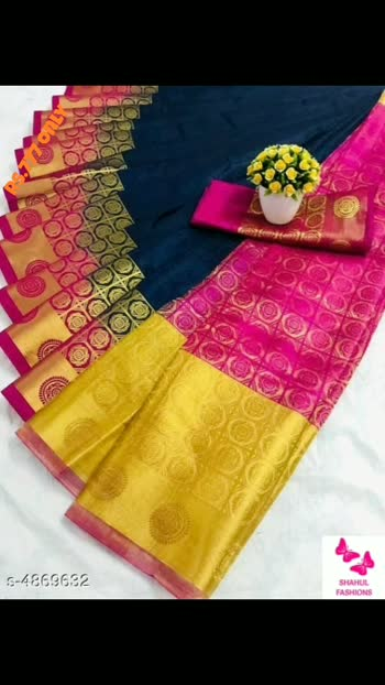 Rs.777 only  Alisha Attractive Sarees  Saree Fabric: Belaton Silk Blouse: Running Blouse Blouse Fabric: Cotton Silk Pattern: Embellished Multipack: Single #saree #sarees #silksaree #cottonsilk