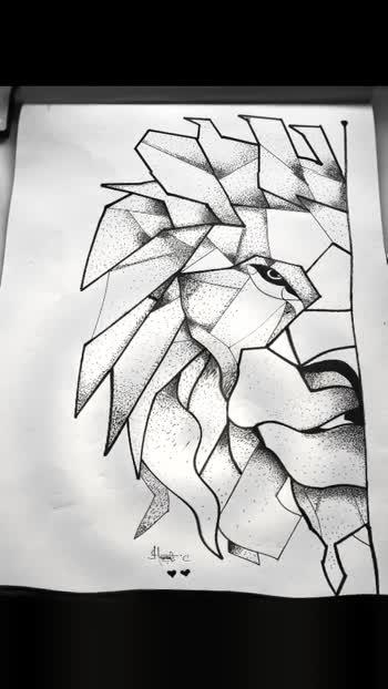 Lion geometric art😍💛🖤