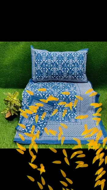 #Collection name : block print  king sized   Three   Piece  Bedsheet set  Fabric : 100% organic  cotton *Thread count : 200*  Size specification Bedsheet size : 250 by 275 cms  Pillow case size : 46x69cm+5cm Content : 1 Bedsheet                     2 co-ordinate pillow cases    1 bedsheet king sized 100 by 108 inches    2 pillow covers in contrast   *Online Resellers : 975 Free Shipping*  Pics below 👇👇👇