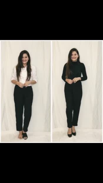 🍂 #STYLEXKHYATI #EPISODE21 This Or That? 🤍🖤   Formal look- I'm wearing this black formal pant with white shirt. For Accesories I added watch, black heels and lastly I've added black sling. It's looks so stunning. You can wear this at work too. 🤍   Taking about that side. I've decided to style monochromatic 🖤 I'm wearing this black formal pant with black turtleneck T-shirt. For accessories I have added gold bracelet and black heels. Lastly I have added black purse. I just remove the sling. 🖤 this look looks so chic and classy!   Let me know which look is your fav?   . . . . . #khyatikansari #styleaddictgirl #monochrome #monochromatic #formal #formalstyle #monochromestyle #monochromeoutfit #formaloutfit #fashiobblogger #indianfashionblogger #ootd #fashionvideo #fashion #fashionstyle #fashionpost #video #fashionvideos #fashioninfluencer #fashiongram #fashionblog #fashionvlogger #fashionblogging #fashionbloger #fashionbloggerstyle #fashiondiaries #thisorthat #octbrblogs#roposo #roposostar #featureme