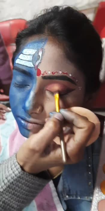 अर्द्धनारीश्वर makeup #eyemakeuplook #makeuptutorialforbiginners
