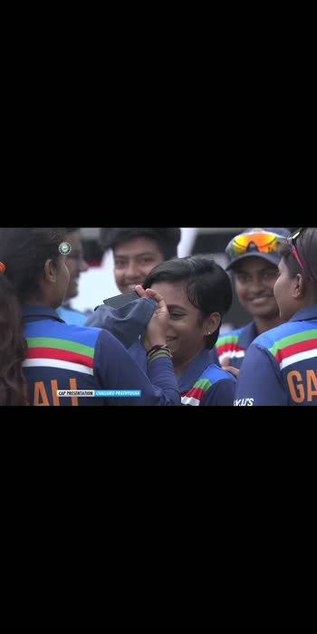 The joy of receiving your #TeamIndia cap from the legendary Mithali Raj! 😀  Welcome to international cricket, Challuru Prathyusha!