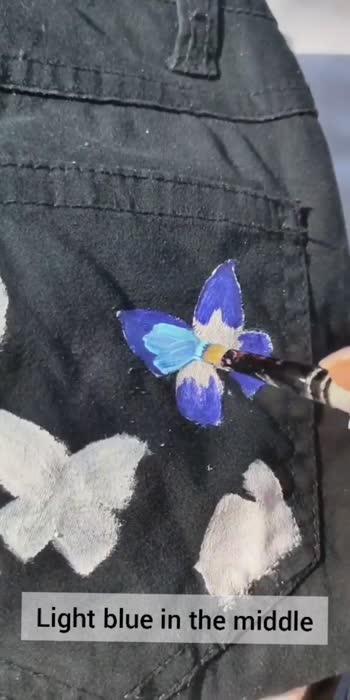diy butterfly on jeans  #creativespace #creative-channel #artandcraft #artist #artvideo #diy #roposostar #diyroposo #statusvideo