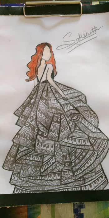 how to make a mandala art girl long dress