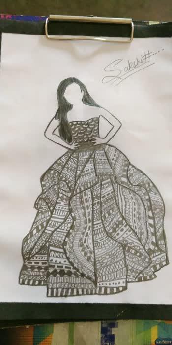 mandala art girl long dress