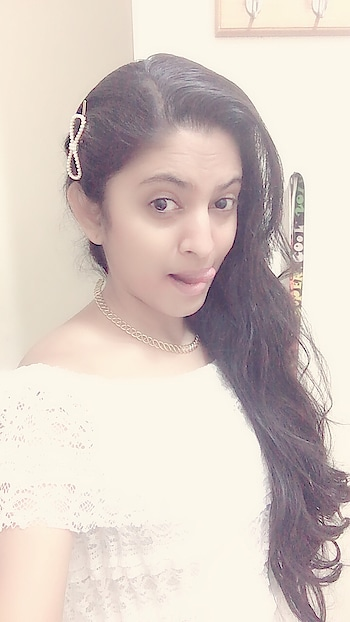#white denote the purity which is ma all time favorite #whiteness #nomakeuplook #longhairlove #slitdress #lacedress #❤loveit❤ #roposo-style #roposolove