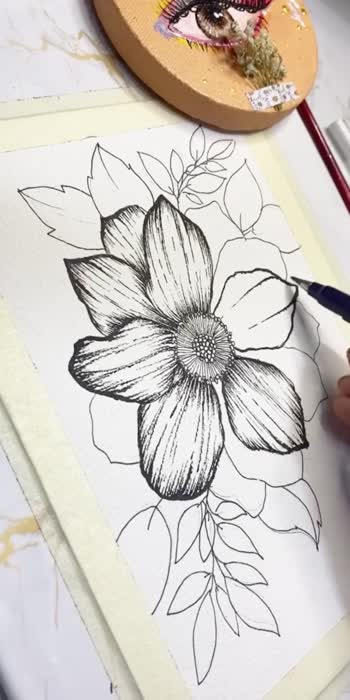 Line drawing: floral
