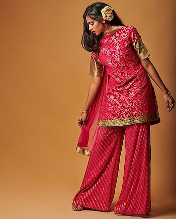 Go #bold with #pink Banarasi kurta by Smriti jhunjhunwala featuring gota patti work, paired with matching pants & dupatta: https://www.indiancultr.com/designers/smriti-jhunjhunwala #love #beautiful #India #IncredibleIndia #wow #amazing #artisan #want #neednow #inspiration #Indian #traditional #makeinindia #instalike #instadaily #photooftheday #follow #repost #awesome #style #shoppingonline #designer