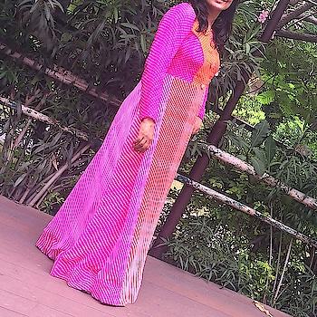 #Happy client #leheriya #floorlength #kurti #two colour #orange #pink #festiveseason #full sleeves #angsh #jaipur #trending Dm to order😊