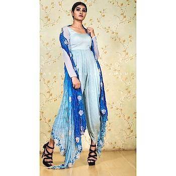 ~our stylish English blue dhothi draped jumpsuit with an embellished over coat~ #archithanarayanamofficial #bridalcouturefestivewear #stylish #dhothi #draped #jumpsuit #ombre #embellished #blue #sliver #indowestern #seperates #fashion #liveit #loveit