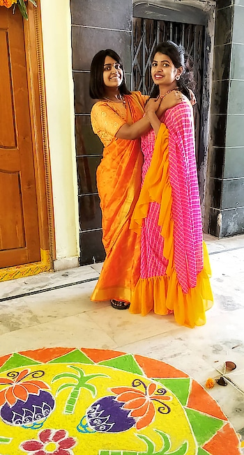 happy sankranthi #pongal #saree #ruffles #rufflesaree #saree-georgette #fashionstylist #designer-saree #happypongal #2019