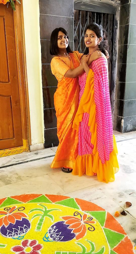 happy sankranthi #pongal #saree #ruffles #rufflesaree #saree-georgette #fashionstylist #designer-saree #happypongal #2019