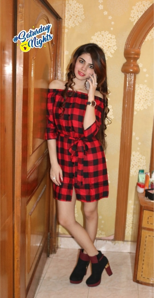 #shortdress #heels #boots #shoes #redboots #check #checkered #checkedshirt #checks #offshoulderdress #offshoulder #offshouldertrend #shirtdress #shirt #dress #sblbabes #saturdaynights