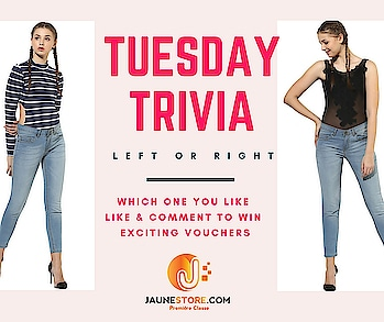#tuesday #trivia #like #comment #win #exciting #vouchers  Comment left or right and we will personally send you coupon for our website.  #jaune #jaunestore #bodysuit #bodysuittop #stripedtop #partywear #amazingoffers #tuesdaypost