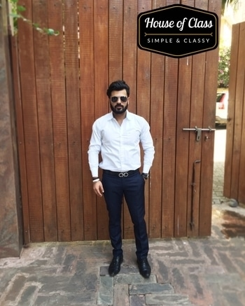 A plain white shirt always works.💯 Aviators : @hm  Shirt : @gasjeans  Trousers : @raymond_the_complete_man  Belt : @ferragamo  Watch : @esprit  Confidence : @house_of_class . . . . . . #bloggersofIndia #OOTD #mumbaifashionblogger #bloggerlife #bloggerstyle #bloggerdiaries #blogpost #manbuns #aviators #bloggingisfun  #loveyouall  #beardlife #shootdiaries #fashion #istyleyouindia #mensfashion #menstyle #mensstyle #menfashion #ootdmen #beard#HouseofClass #Mumbai #Basics #wegroom #sssmagazine #soroposo #roposo  #formals