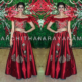 ~Minakshi Dixit spotted in our attire and looks magnificent~ #archithanarayanamofficial #bridalcouture #lehengas #bollywood #tollywood #reception #bigfatwedding #magnificent #stylish #offshoulder