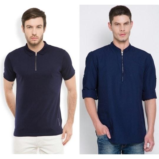 Zip-up T-shirt & shirt! #shirts #tshirt #darkblue #menswear #menswearfashion #mensweardaily #zipped #zipup