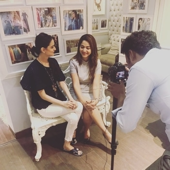 #shooting today at #studionityabajaj as @delhipluscommunity celebrates #womanhood with #NITYABAJAJ  Here they Interview our #creativehead @nitya_bbirla on her #achievements and expertise in the area of #fashion #candid #behindthescenes with @iamquestpr at #shahpurjat  #staytuned #labelnityabajaj  #interviewwithourdesigner