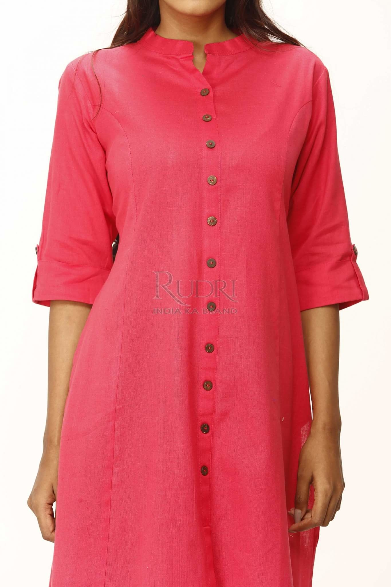 The Beautiful Hue Of Tomato Pink In Cotton Linen Kurti By Rudri. http://www.rudri.in/rdk03.html #Exclusive #Kurtis #IndianFashion #fashion #casualstyle #NewTrend