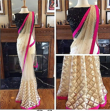 Designer white Saree  Saree: Soft Net Fabric  Blouse : Banglori Silk fabric With heavy sequence work ( Unstitched ) Work : Heavy Thread Work  Price: Rs 1550/-