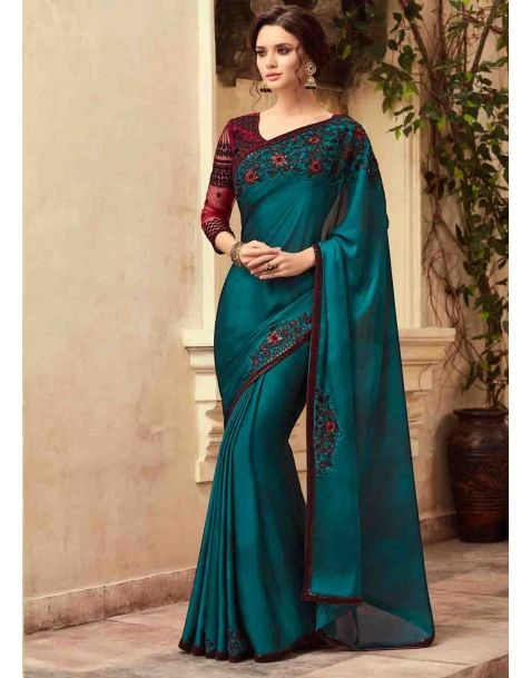 Saree to Impress !! Make a stylish statement with this stunning #saree available @ www.manndola.com  Grab Up To 65% OFF. Get additional 10% OFF on all orders above $199 using code EXTRA10 & extra 15% OFF on all orders above $299 by using code EXTRA15 !!   It Is A Perfect Party Attire . Blue Party Wear Embellished Saree Has An Embroidered Border. The Saree Material Is Silk Chiffon And Comes With Net And Fancy Fabric Embroidered Blouse.  #newarrivals #newlaunch #wedding #partywear #silk #saree #chiffon  #style #photography #instamood #instaupload #fashion #indianfashion #ethnic #usa #india #canada #australia #dubai #uae #mauritius #london #uk #shoponlinenow