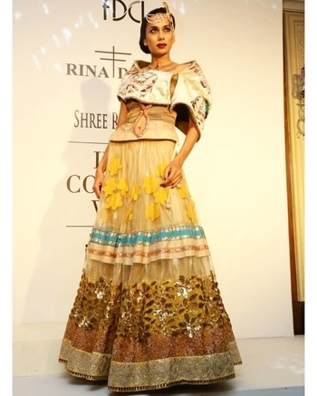 Throwback to India Couture Week# 2014#Shree Raj Mahal Jewellers#beautiful#traditional#lehenga#ethnic love#❤ Visit us at our dlf emporio store for our latest collection #rinadhaka #dlfemporio #weddings #newcolletion #gold #glitter #indian #bridestyle #shimmer #bridestyle #indianwear #elegant #beautiful #dhotipants #indianbride #luxurydesign #instashop #instalove #buynow #getthelook