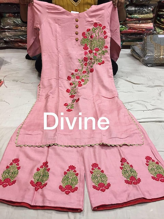 Khadi rayon stuff  Shirt stiched size 44  Stiched plazzo size 38  chiffon dupatta  Emb on shirt plazo  Ready to wear  1650/-$ free