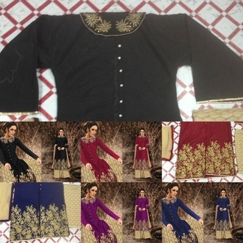 """* NEW DESIGN *  9773408296  🚏 NAKASHI 🚏  Fabric Details :-   👗Top :- Pure banglori silk                  With same as work                  With diamond                   With  buttons                   Semistiched                    With collar work  🎁Bottom- Pure creap printed                      3m  🎁dupatta :- chiffion with lace Length up to 52"""" Height 48""""  🎁PRICE - 1290+ shipping   🚏READY TO DISPATCH 🚏  😊*Be happy with quality *😊 Rroohhiitt"""