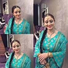 Traditional Punjabi look for a Punjabi lady. Kiran looked very graceful in a Punjabi Sharara suit with a choti/ braid till her waist and a nice hint of turquoise and gold eyes.  Makeup and hair by Richa Malik's Makeovers.  For Makeup bookings contact 9791016653. #makeup #punjabilook #punjabihairstyle #gurgaonmakeupartist #makeupartist #richamaliksmakeovers #richamakeupartist #delhimakeupartist #freelancemakeupartist
