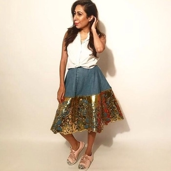 #nandinibhalla spotted in #roseroomcouture's gorgeous denim patchwork skirt. Shop here: https://goo.gl/HEiqak