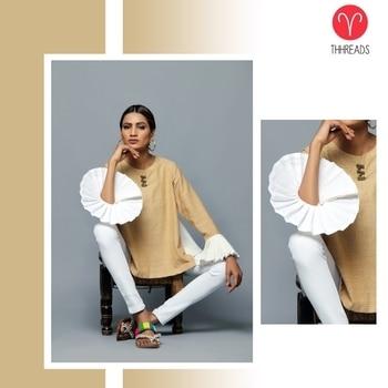 Khadi top with pleated details! #power #sleeves #khadi #outfits #iwearkhadi #internationalfashion