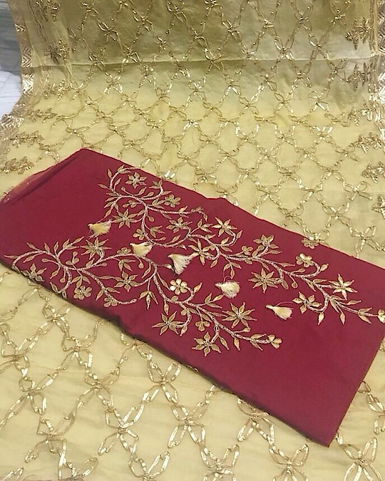 Chanderi Silk Hand Embroidered Gotta Patti Suit Product code - FCDM225 Available at www.fashionclozet.com  Watsapp - +91 9930777376 Email -  info@fashionclozet.com Or DM for enquiries.  #designer #net #gown #partywear #indianfashionblogger #latestfashion #classy #ethicalfashion #hairstyles #worldfashion #clothingbrand #designersaree #classic #deepikapadukone #selenagomez #aishwaryaraibachchan #kritisanon #katrinakaif #shraddhakapoor #salmankhan #sharukhkhan #punjabisuit #salwarsuit #kuwait  #uae #dubai #gotapatti