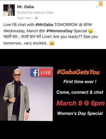 #facebooklive chat on Mr. Gaba #facebookpage TOMORROW @ 6PM (IST) Wednesday, March 8th #womensday special 😀 . #firsttimeever पहली बार , आओ बात करें Live!! Are you ready?? See you tomorrow.. very excited.. 🤗 let's #celebrate #women and their immensely #powerful presence in our lives .. #letstalk #letsbereal #celebratewomen #celebratelife #womenempowerment #MrGaba #gabagetsyou #livechat #facebookpost #fblchat #fblive #itsadate #askmeanything #askmehow #askmequestions #womenonroposo #menonroposo #beautyaddict #styling #hairandmakeup #fashionguru #