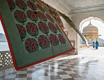 Hand block-printed #fabric revealing #lake view from #pavilion at the Jal Mahal, #Jaipur. PC: Henry Wilson/Architectural Digest #love #wow #amazing #travel #travelbug #instatravel #wanderlust #see #gameoftones #incredibleindia #photography #photooftheday #Rajasthan #inspiration
