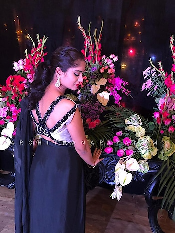 ~BLACK~ ~happy clients ~ ~A Somber black twist ~ #archithanarayanamofficial #black #embellishments #blackembellishments #designer #designerwear #art #inspiration #abstract #croptop #saree #indowestern #loveforsaree #gowns #drapes #trendy #trendsetter  #fusion #fashion #fashionlove #missindia#allaboutfashion #enrichment #embroidery #handembroidery #sangeet #cocktail #happyclients