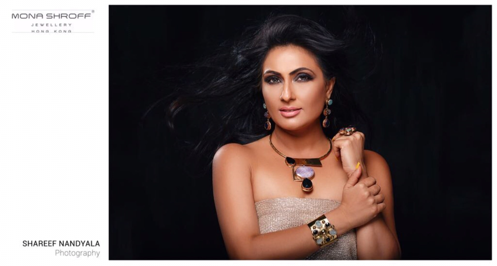 Mrs Universe Beautiful Eyes 2017 wearing for Mona Shroff Jewellery for a photo shoot. @shroffmons