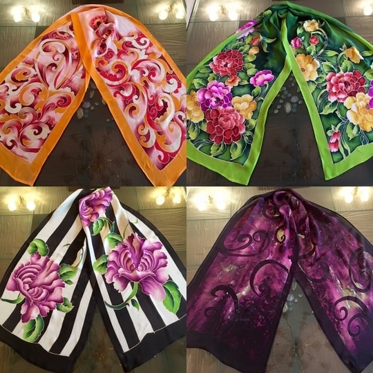 #Floral #Handpaint #scarf #stole #scarves #designer #beautiful #pink #white #green #abstract  #colourful  #summer #pure #silk #season #winter #spring #autumn #exclusive #unique #hotselling #rose #flower #market #clothes #chandigarh #india #mumbai #delhi Material :-Pure Georgette  To Order:- Call / WhatsApp on + 91 9216299143  Worldwide Delivery
